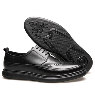 CARTELO 卡帝乐鳄鱼 4001 男士英伦布洛克皮鞋 黑色 38