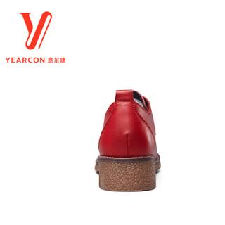 YEARCON 意尔康 7562DD26576W 女士系带小皮鞋 红色 38