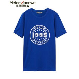 Meters bonwe 美特斯邦威 601289 男士章仔图案短袖T恤 网络蓝 170/92