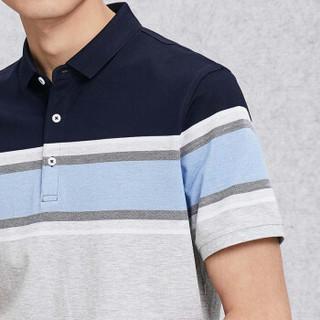 HLA 海澜之家 HNTCD2E325A 男士条纹镶拼舒适短袖POLO衫 浅蓝镶拼 54
