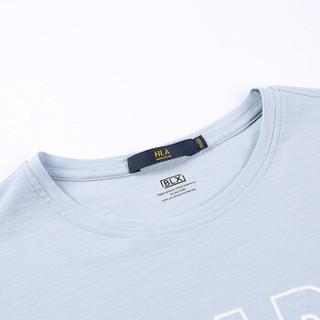HLA 海澜之家 HNTBJ2E131A 男士英文字母圆领短袖T恤 蓝灰花纹 50