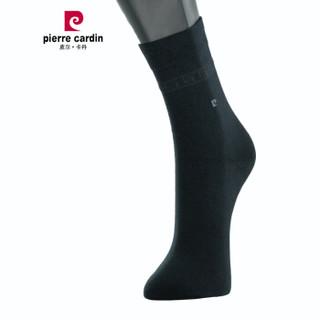 皮尔卡丹袜子男中筒弹力宝高棉棉袜男商务绅士袜黑色3双装33DH482499