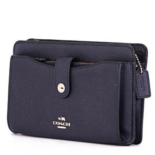 COACH 蔻驰 奢侈品 女士海军蓝色皮质手拿包单肩斜挎包 53529 LINAV