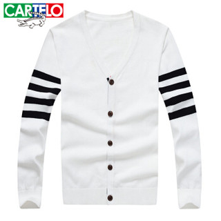 CARTELO 16017KE001 男士V领针织衫 白色 2XL
