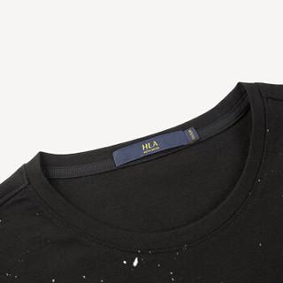 HLA 海澜之家 HNTBJ2E200A 男士圆领花纹徽章星空短袖T恤 黑色花纹 56