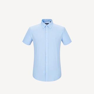 HLA 海澜之家 HNECJ2E095A 男士提花格纹短袖衬衫 浅蓝格纹 38