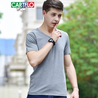 CARTELO 18099KE1601V 男士短袖T恤 灰色 XL