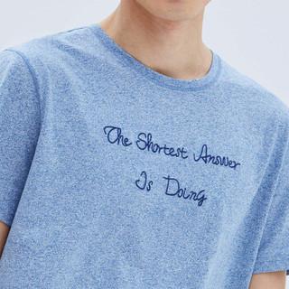 HLA 海澜之家 HNTBJ2E290A 男士圆领花纱短袖T恤 蓝灰花纹 52