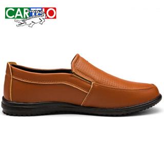 CARTELO 卡帝乐鳄鱼 KDLA13 男士休闲皮鞋 棕色 41