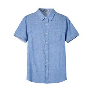 Semir 森马 13216041207 男士麻棉衬衣 蓝白色 M