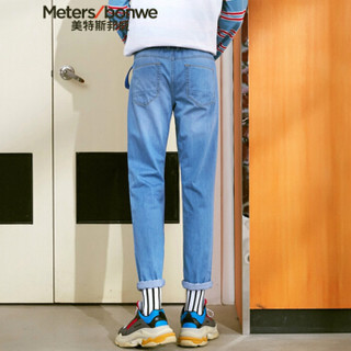 Meters bonwe 美特斯邦威 602770 男士直筒牛仔长裤 浅蓝 175/84