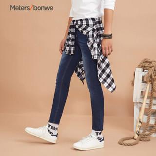 Meters bonwe 美特斯邦威 246409 男士A版弹力牛仔长裤款 牛仔深蓝 175/80A
