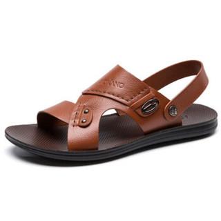 AOKANG 奥康 165612323 男士沙滩凉鞋 黄棕 40