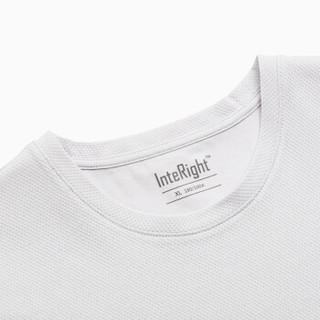 InteRight 男士不对称拼接圆领T恤 (XXL、冷灰白)