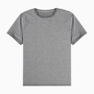 InteRight 男士纯棉条纹海魂衫短袖 (XXL、灰白条)