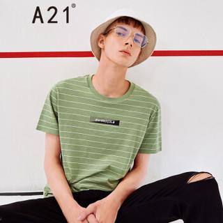 A21 4821330182 男士圆领条纹字母印花短袖T恤 军绿 M