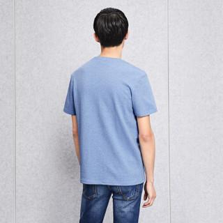 HLA 海澜之家 HNTBJ2E338A 男士V领短袖T恤 浅蓝 56