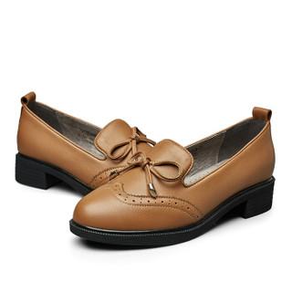 YEARCON 意尔康 7562ZE29803W 女士布洛克小皮鞋 土黄 40