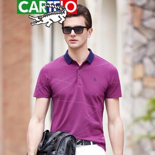 CARTELO 9090 男士休闲短袖T恤 酒红色 M