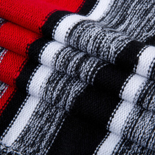 Semir 森马 19416071907 男士条纹撞色针织衫 红色调 M