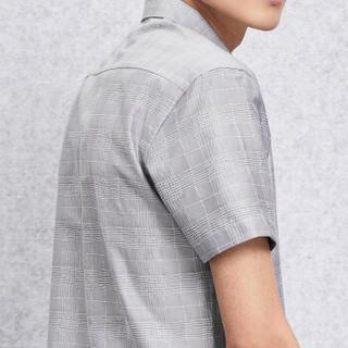 HLA 海澜之家 HNECJ2E112A 男士短袖衬衫 浅灰花纹 40