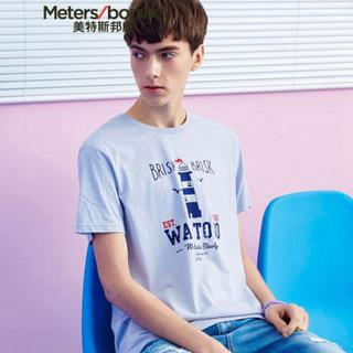 Meters bonwe 美特斯邦威 661426 男士卡通短袖T恤 蓝粉 170/92