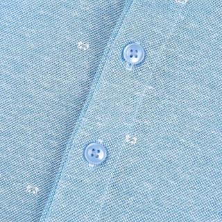 HLA 海澜之家 HNTCD2E323A 男士印花丝光棉短袖POLO 浅蓝花纹 56