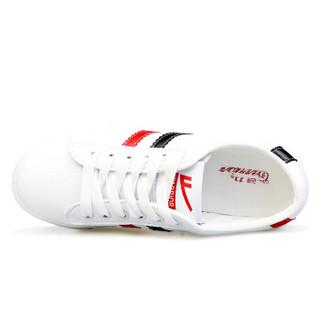 WARRIOR 回力 WXP-2200 女士系带小白鞋 白黑红 38