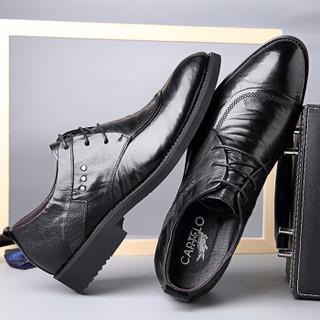 CARTELO 卡帝乐鳄鱼 3814 男士商务正装皮鞋 黑色 40
