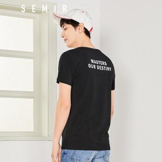 Semir 森马 12997001440 男士圆领T恤 黑色 XL