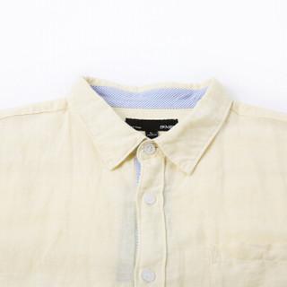 Semir 森马 13216041207 男士麻棉衬衣 白黄色 L