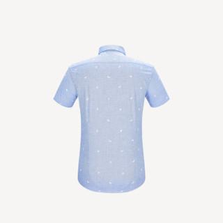HLA 海澜之家 HNECJ2E035A 男士碎花休闲短袖衬衫 浅蓝花纹 38
