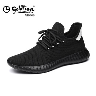 goldlion 金利来 537820262APQ 男士飞织面布跑鞋 黑色 37