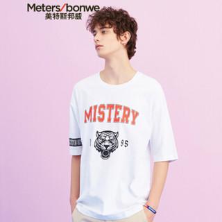 Meters bonwe 美特斯邦威 661394 男士运动风印花短袖T恤 影黑 185/104