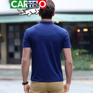 CARTELO 7102 男士翻领休闲短袖T恤 宝蓝色 XL