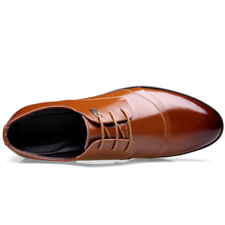 CARTELO 卡帝乐鳄鱼 513 男士英伦正装皮鞋 棕色 39