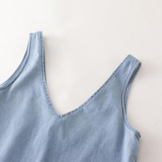 INMAN 茵曼 1882105765 女士短袖T恤连衣裙两件套 牛仔蓝 M