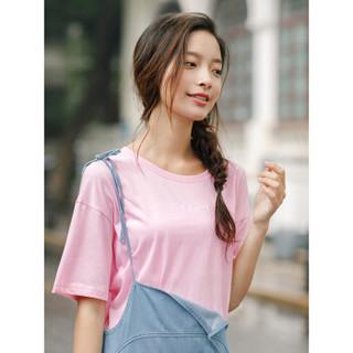 INMAN 茵曼 F1882022967 女士短袖T恤 粉红色 L
