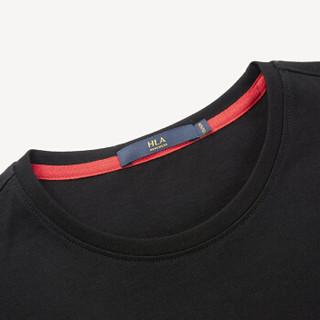 HLA 海澜之家 HNTBJ2E214A 男士圆领净色短袖T恤 黑色花纹 48