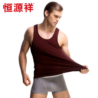恒源祥男士背心 莱卡棉运动背心 男士背心单件装 莱卡棉酒红 XL