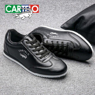 CARTELO 卡帝乐鳄鱼 KDLK179 男士加绒小白鞋 黑色 42