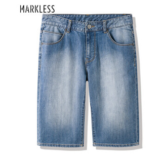 Markless NZA8052M 男士中腰直筒薄款牛仔短裤 浅牛仔蓝 34