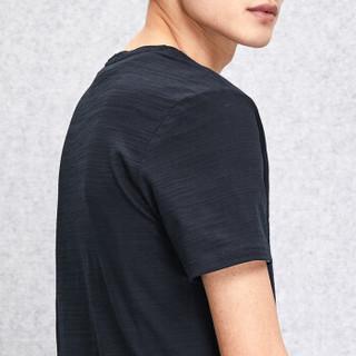 HLA 海澜之家 HNTBJ2E196A 男士V领净色竹节短袖T恤 藏青 54