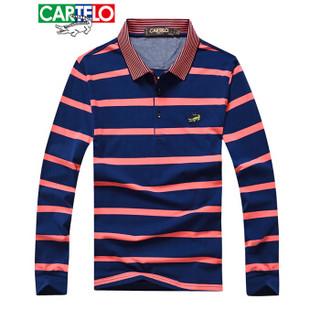 CARTELO 16001KE0903 男士翻领条纹拼接长袖POLO衫 红色 S