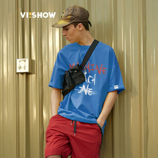 ViiSHOW TD1245182 男士圆领短袖T恤 蓝色 XXL