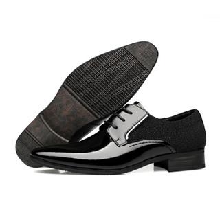 CARTELO 卡帝乐鳄鱼 1070 男士漆皮尖头皮鞋 黑色 41