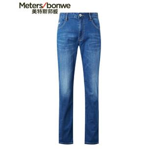 Meters bonwe 美特斯邦威 602845 男士撞色牛仔长裤 中蓝 170/76