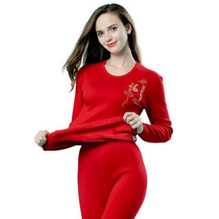 Langsha 浪莎 L88656 女士本命年加绒保暖内衣套装 大红色 XXL