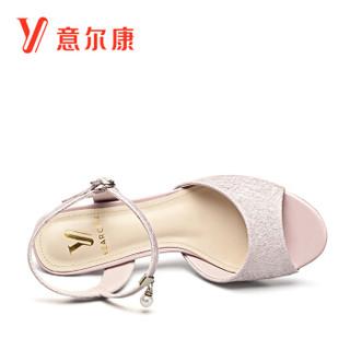 YEARCON 意尔康 8351ZL29907W 女士细跟高跟凉鞋 粉红 36