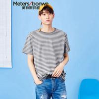 Meters bonwe 美特斯邦威 661235 男士简约细条短袖T恤